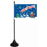 Merry Christmas Blue Desk / Table Flag with plastic stand and base